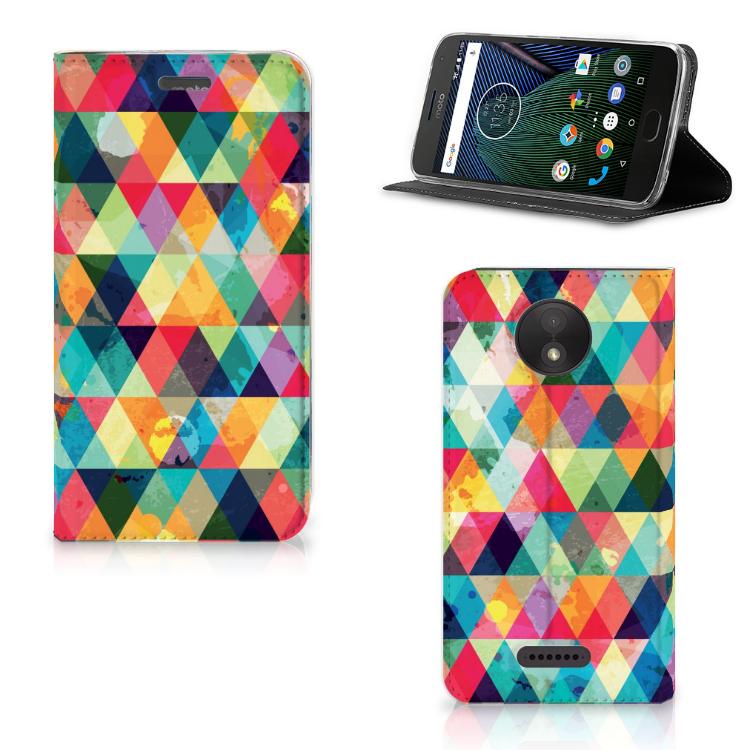 Motorola Moto C Plus Hoesje met Magneet Geruit