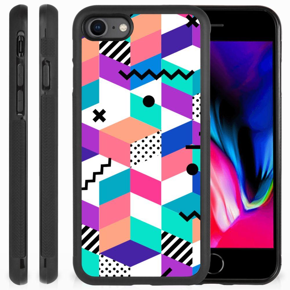 Apple iPhone 7 | 8 Grip Case Blokken Kleurrijk