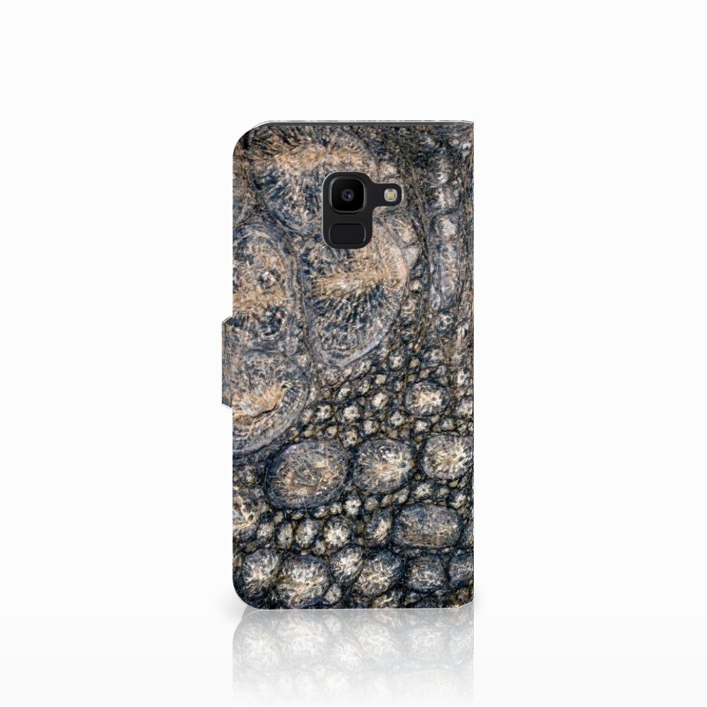 Samsung Galaxy J6 2018 Telefoonhoesje met Pasjes Krokodillenprint