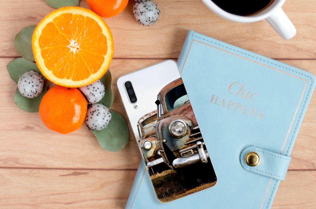 Samsung Galaxy A50 Siliconen Hoesje met foto Vintage Auto