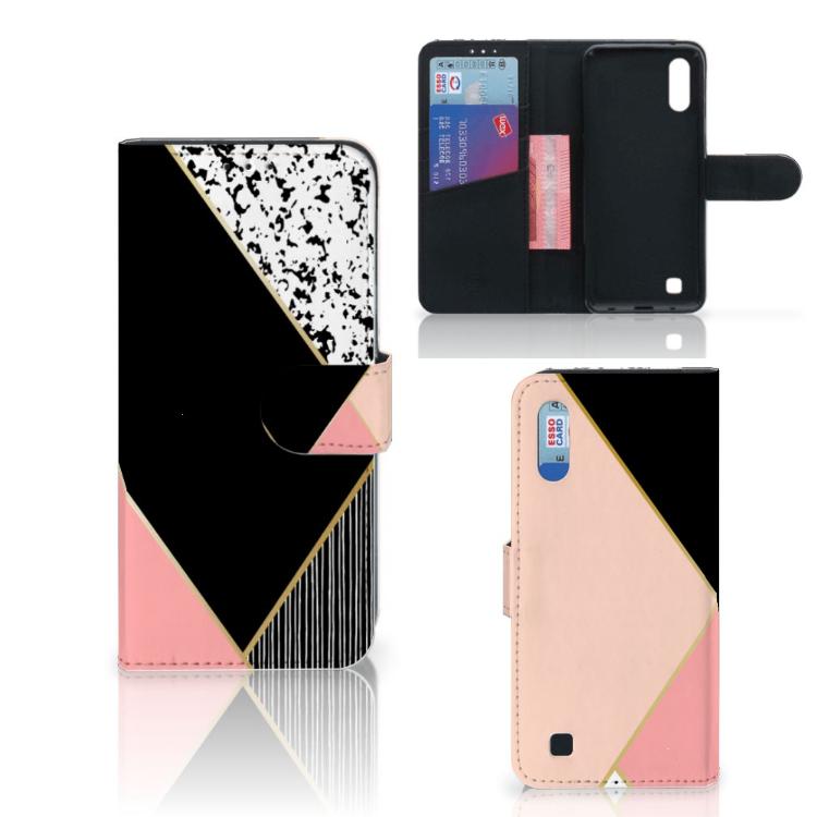 Samsung Galaxy M10 Bookcase Zwart Roze Vormen