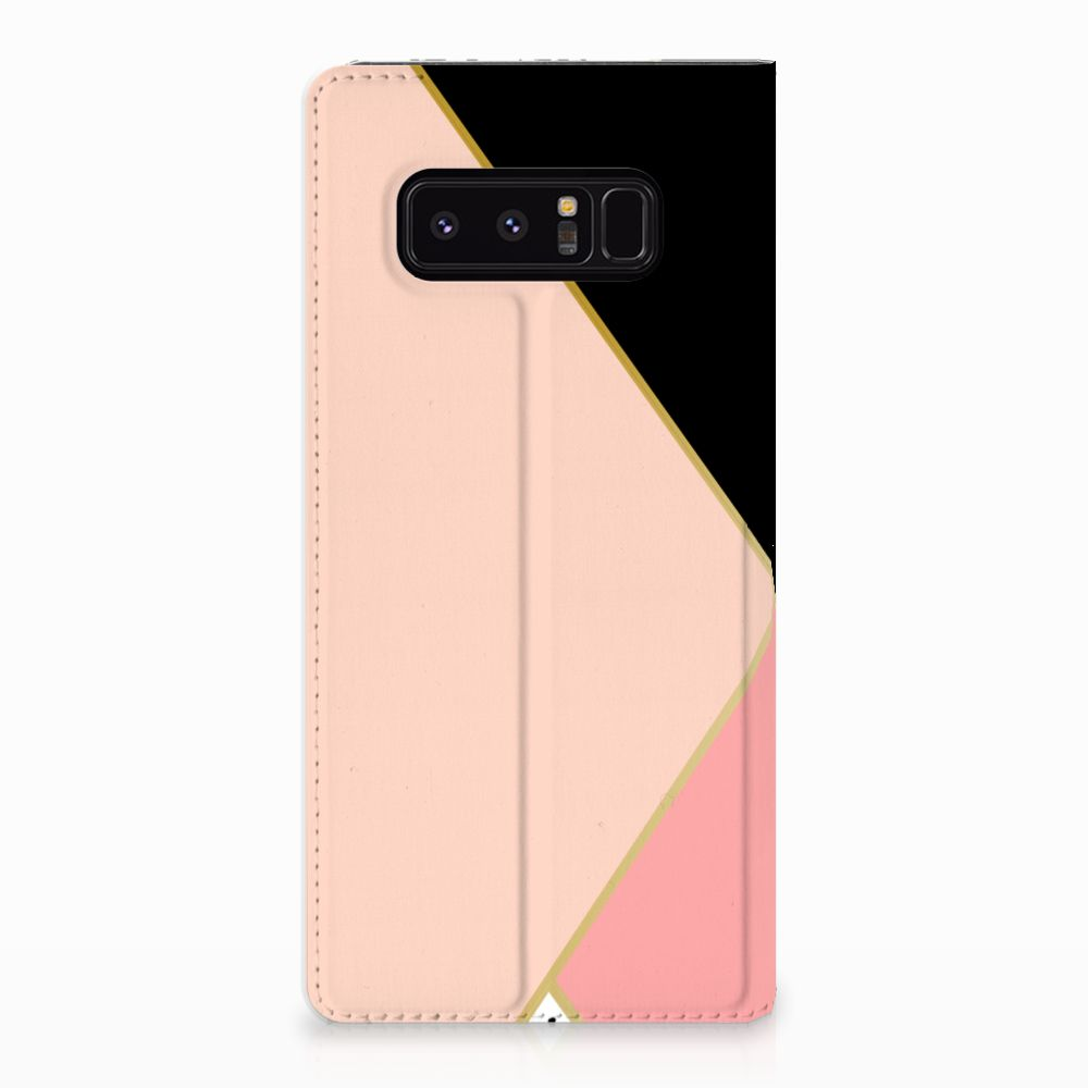 Samsung Galaxy Note 8 Standcase Hoesje Black Pink Shapes