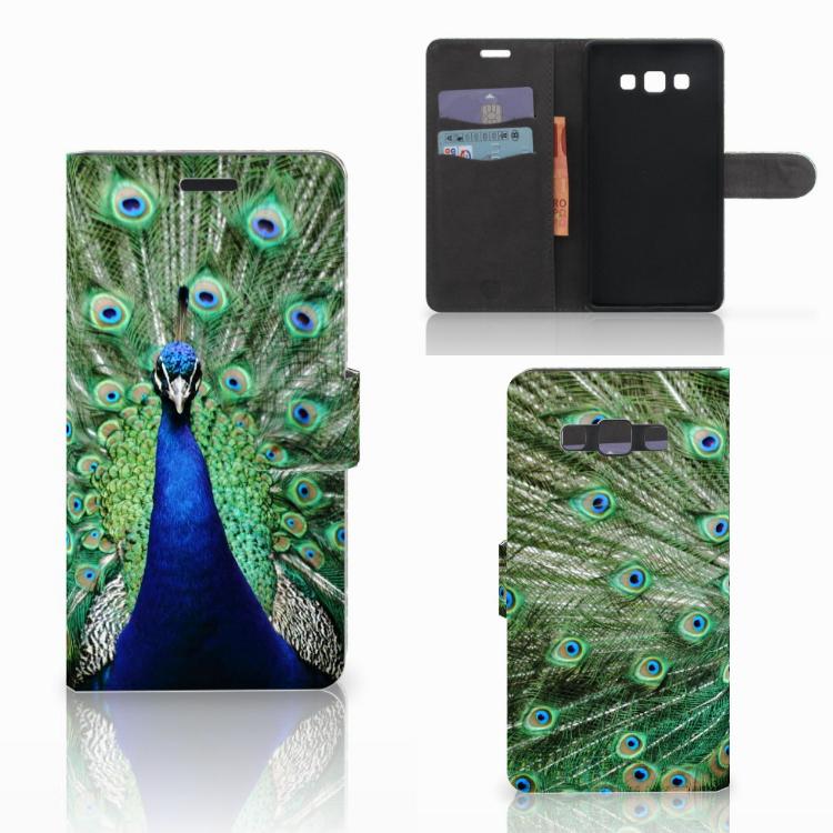 Samsung Galaxy A7 2015 Telefoonhoesje met Pasjes Pauw
