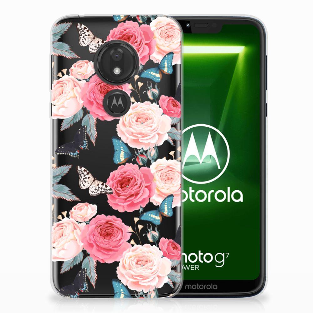 Motorola Moto G7 Power Uniek TPU Hoesje Butterfly Roses