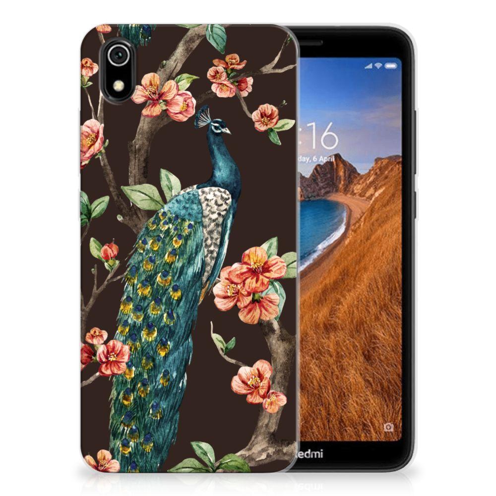 Xiaomi Redmi 7A TPU Hoesje Pauw met Bloemen