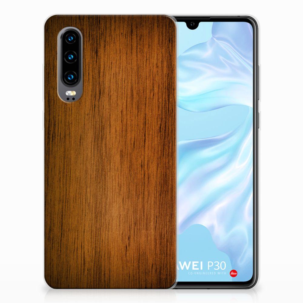Huawei P30 Uniek TPU Hoesje Donker Hout