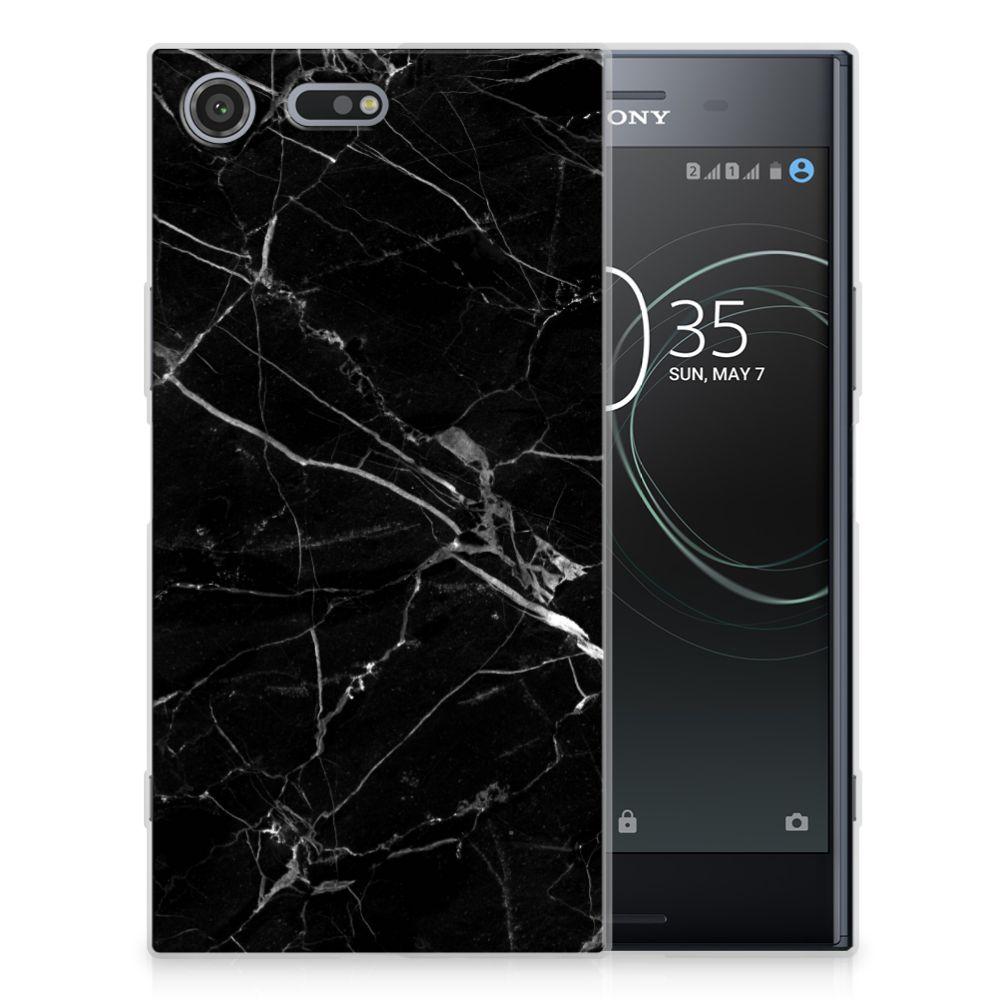 Sony Xperia XZ Premium TPU Siliconen Hoesje Marmer Zwart - Origineel Cadeau Vader