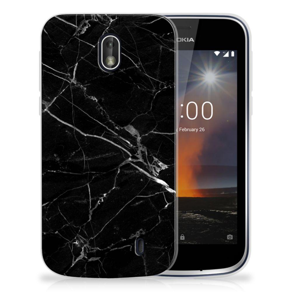 Nokia 1 TPU Siliconen Hoesje Marmer Zwart