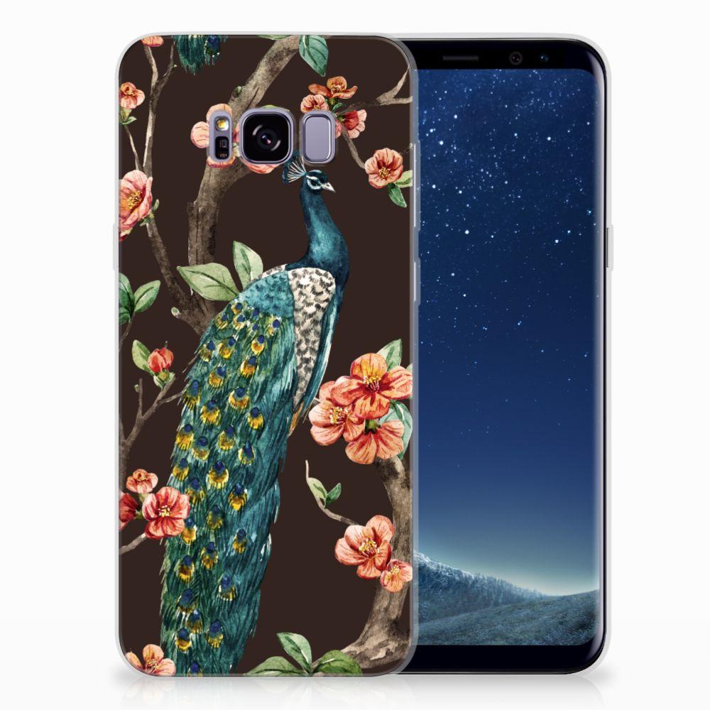 Samsung Galaxy S8 Plus TPU Hoesje Design Pauw met Bloemen