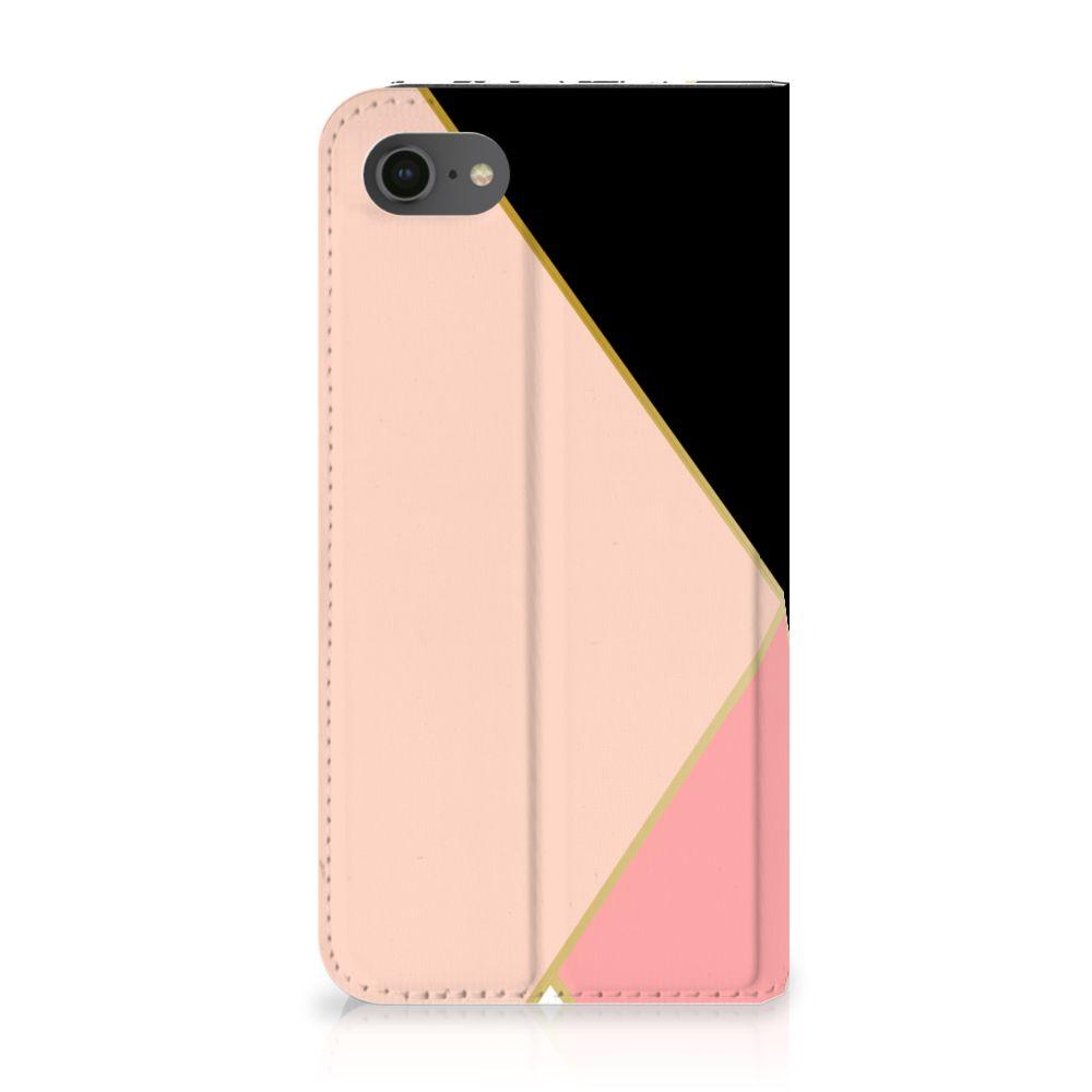 Apple iPhone 7   8 Uniek Standcase Hoesje Black Pink Shapes