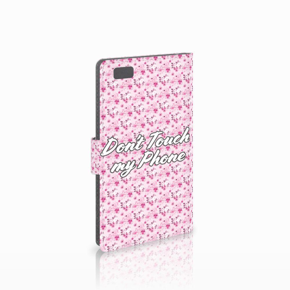Huawei Ascend P8 Lite Uniek Boekhoesje Flowers Pink DTMP