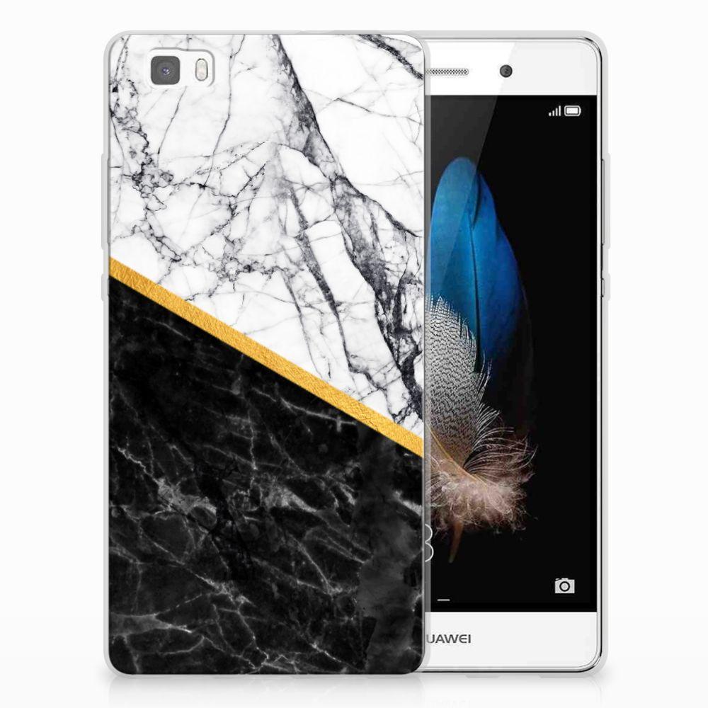 Huawei Ascend P8 Lite TPU Siliconen Hoesje Marmer Wit Zwart