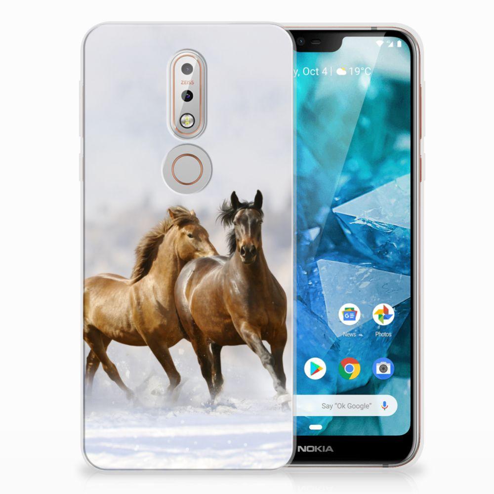 Nokia 7.1 Uniek TPU Hoesje Paarden