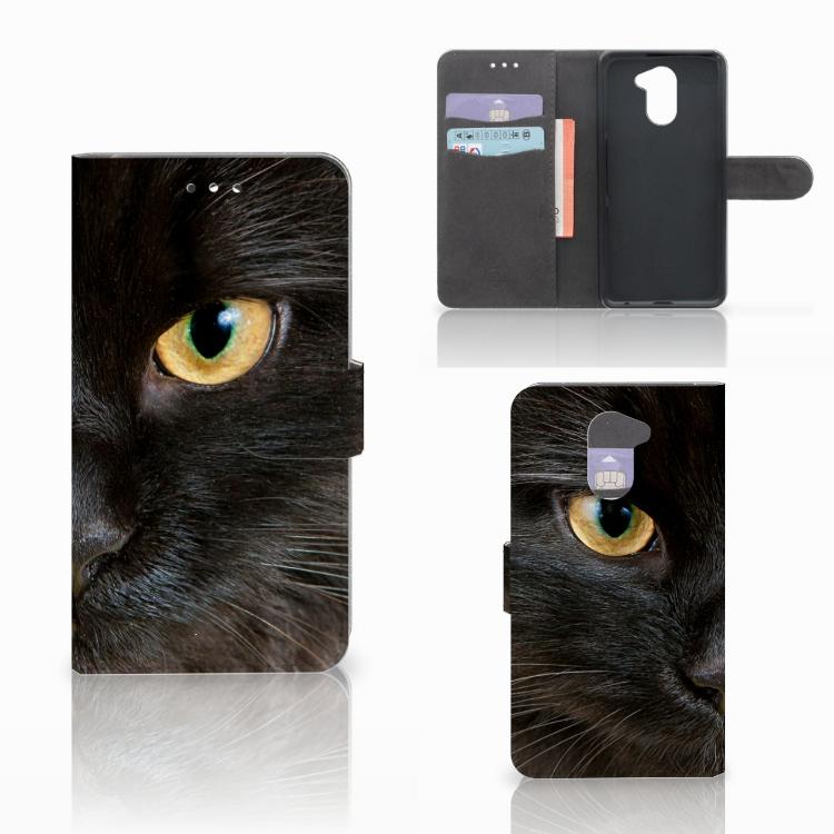 Huawei Y7 2017 | Y7 Prime 2017 Telefoonhoesje met Pasjes Zwarte Kat
