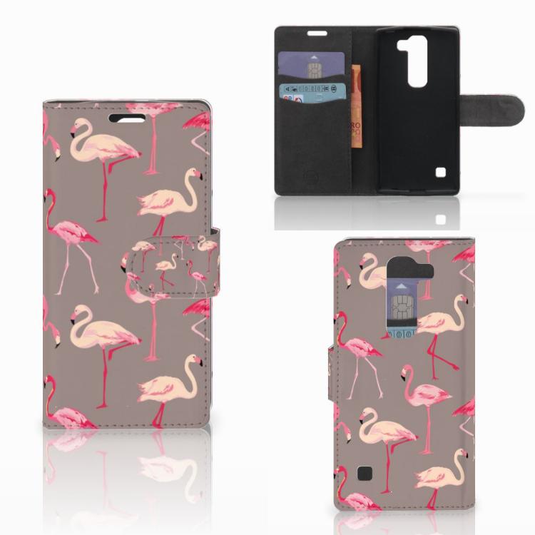 LG Spirit Telefoonhoesje met Pasjes Flamingo