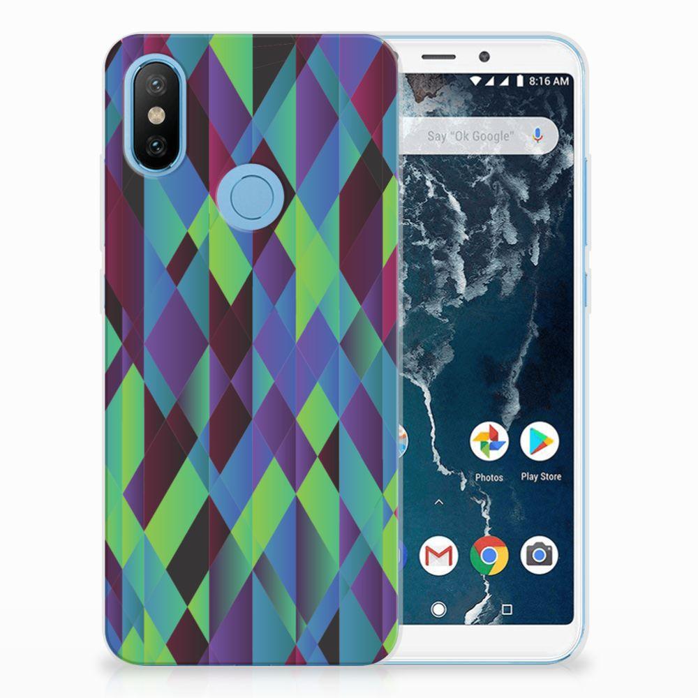 Xiaomi Mi A2 TPU Hoesje Design Abstract Green Blue