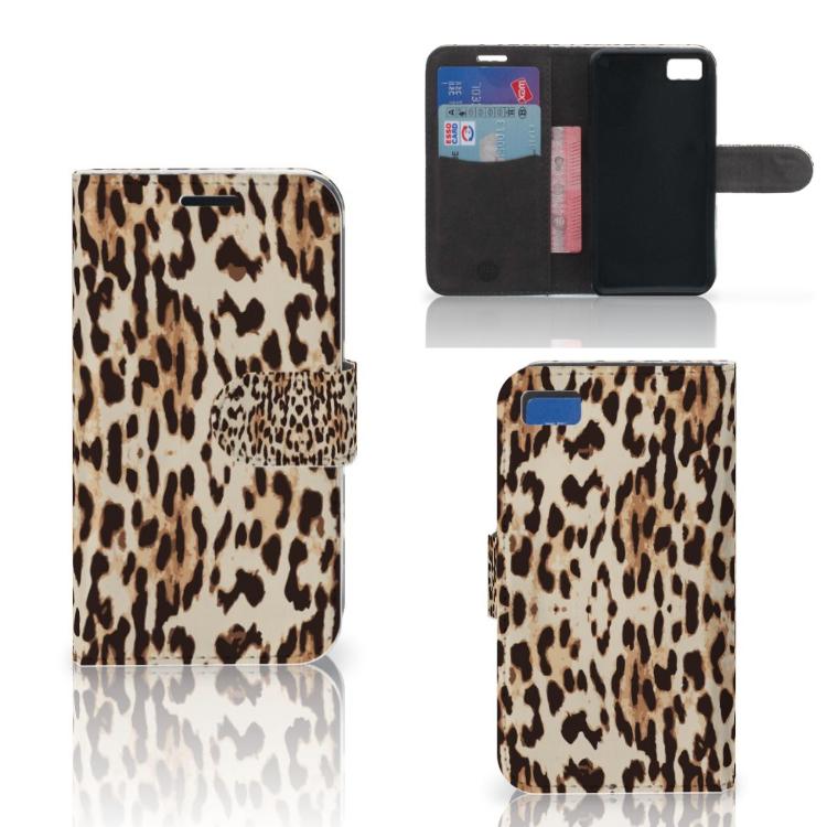 Blackberry Z10 Telefoonhoesje met Pasjes Leopard