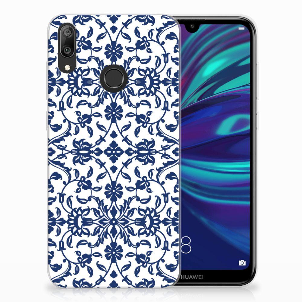 Huawei Y7 2019 TPU Hoesje Flower Blue