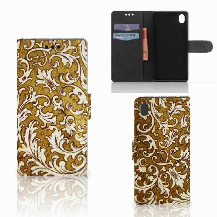 Wallet Case Sony Xperia M4 Aqua Barok Goud
