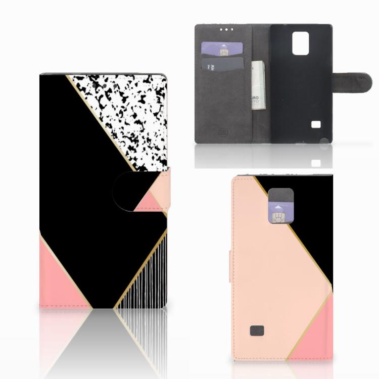 Samsung Galaxy Note 4 Bookcase Zwart Roze Vormen