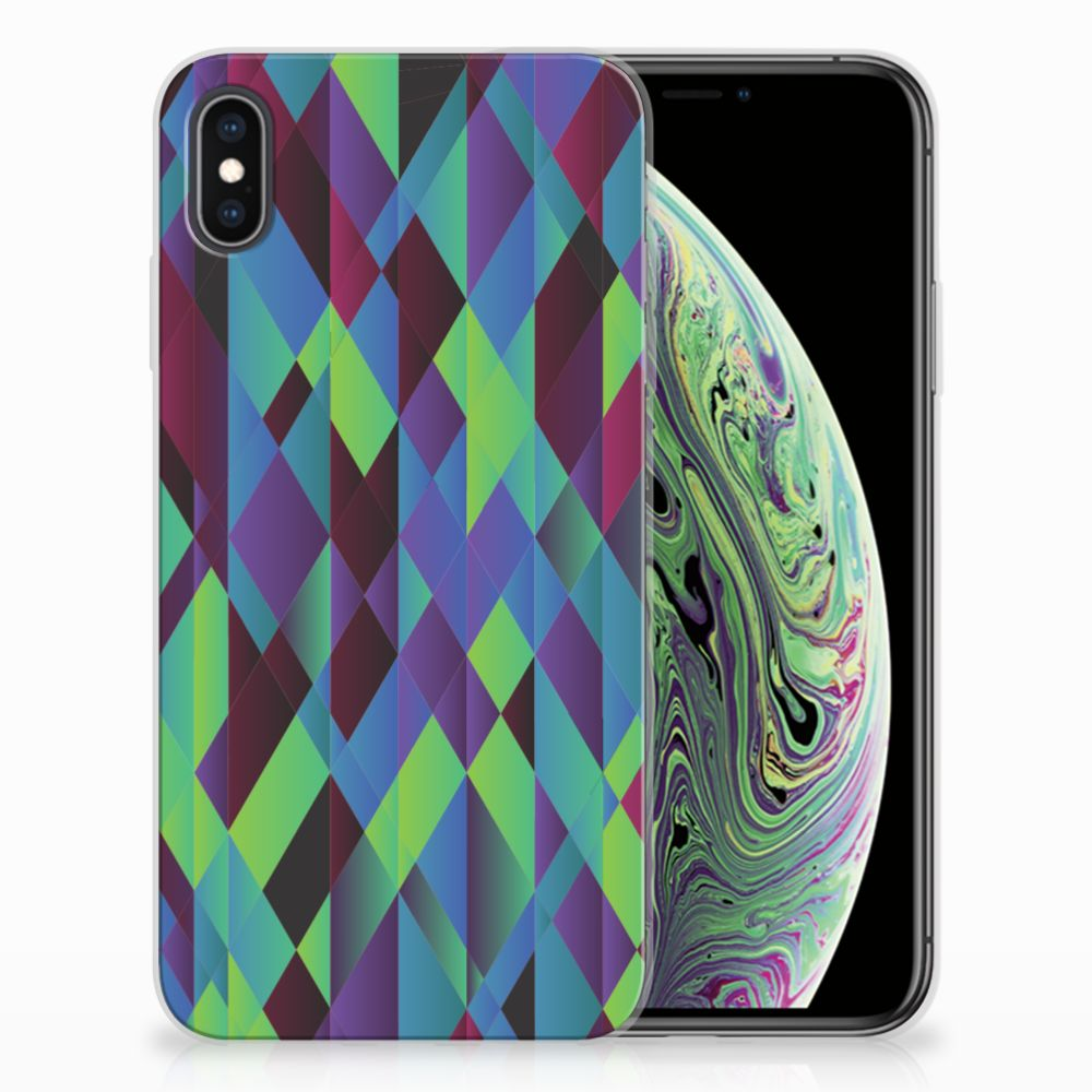 Apple iPhone Xs Max TPU Hoesje Abstract Green Blue