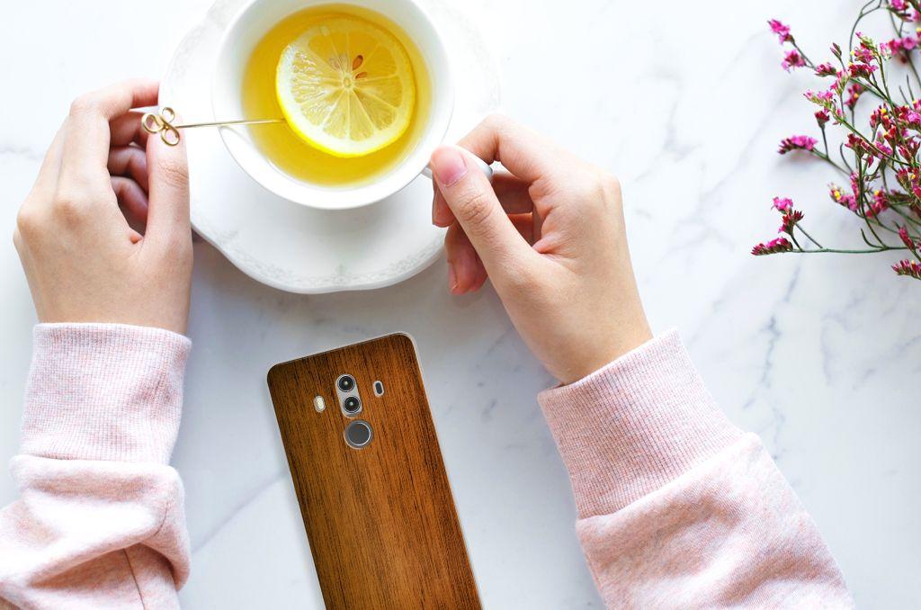 Huawei Mate 10 Pro Bumper Hoesje Donker Hout