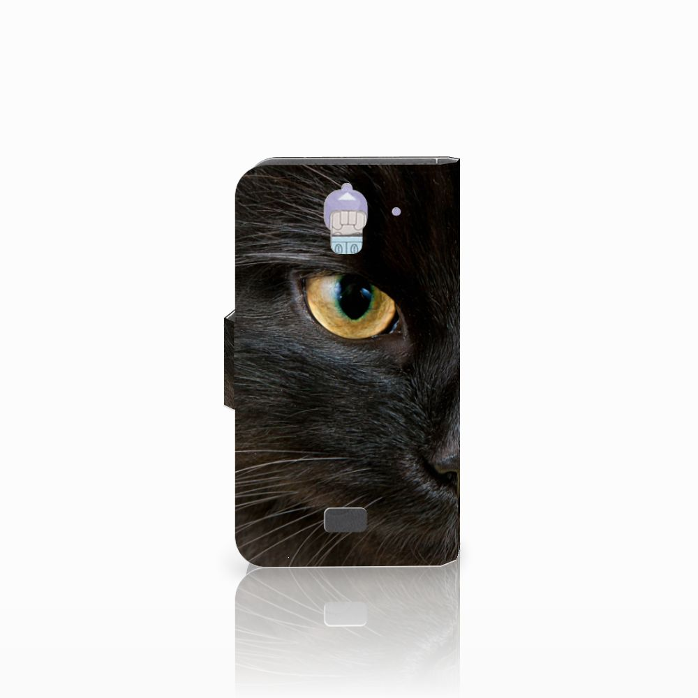 Huawei Y360 Telefoonhoesje met Pasjes Zwarte Kat