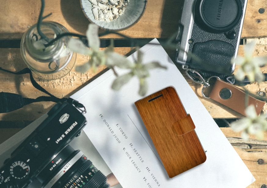 HTC One M9 Book Style Case Donker Hout