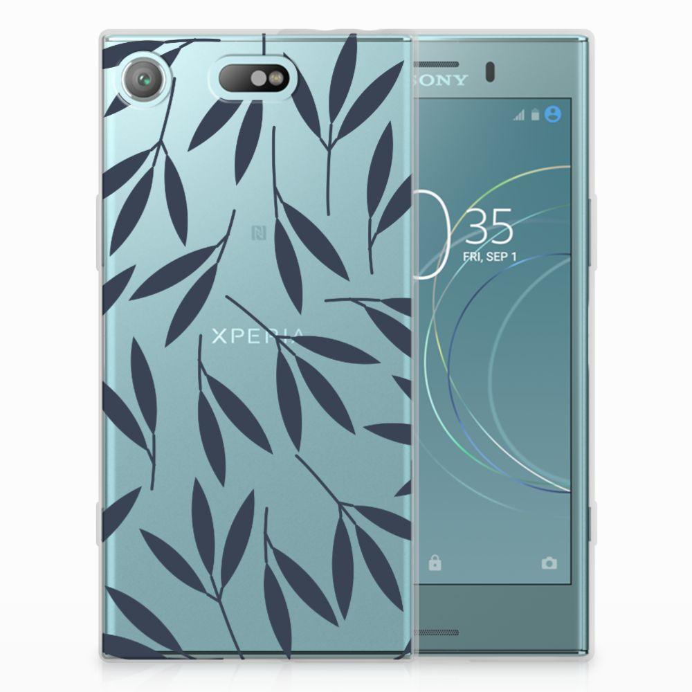 Sony Xperia XZ1 Compact TPU Hoesje Design Leaves Blue