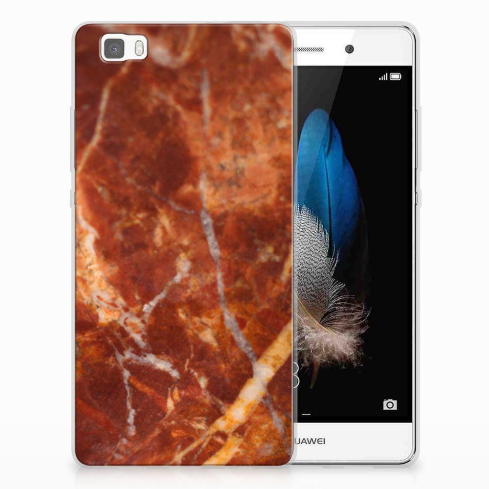 Huawei Ascend P8 Lite TPU Siliconen Hoesje Marmer Bruin