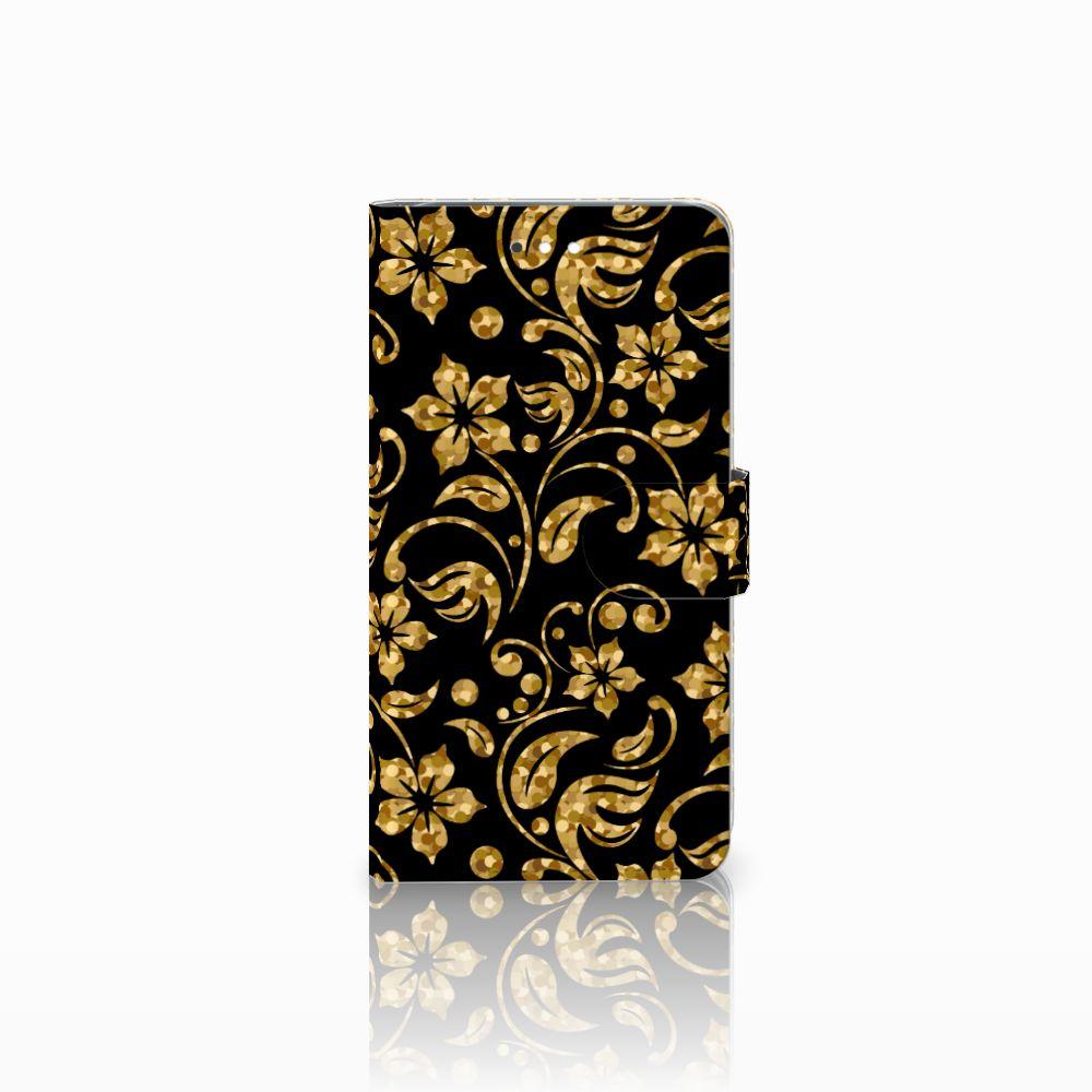 Huawei Ascend G7 Boekhoesje Design Gouden Bloemen
