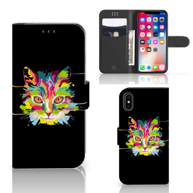 Apple iPhone X | Xs Leuk Hoesje Cat Color