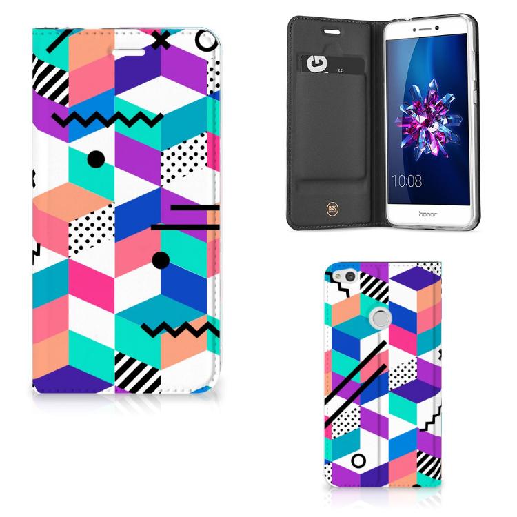 Huawei P8 Lite 2017 Stand Case Blokken Kleurrijk