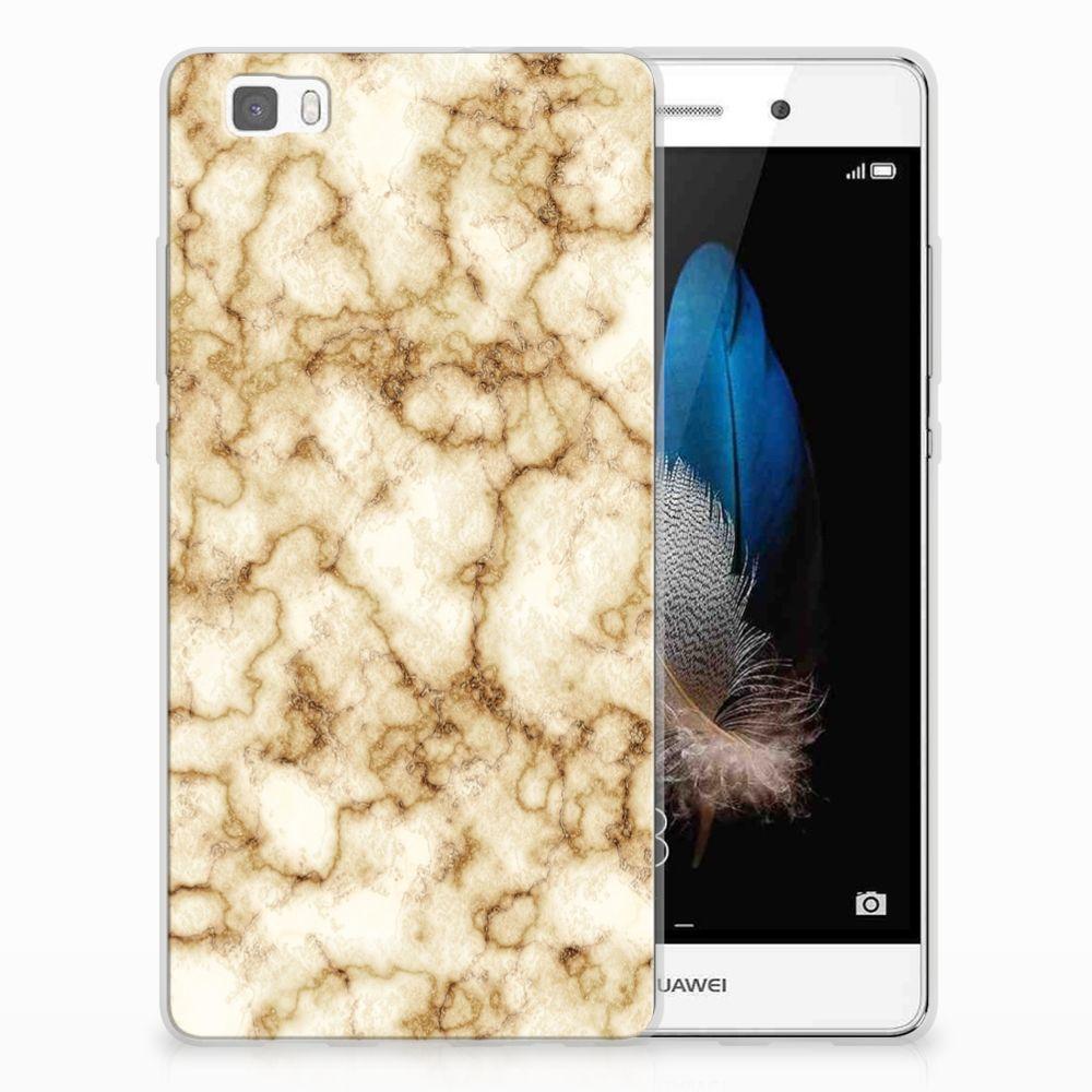 Huawei Ascend P8 Lite TPU Siliconen Hoesje Marmer Goud