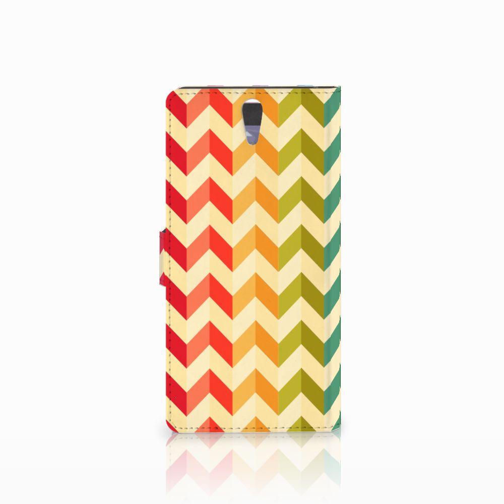 Sony Xperia C5 Ultra Telefoon Hoesje Zigzag Multi Color