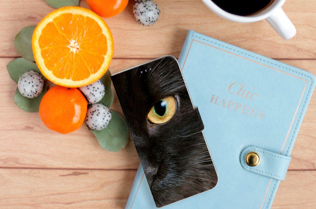 Samsung Galaxy A50 Telefoonhoesje met Pasjes Zwarte Kat