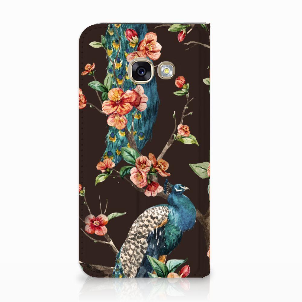 Samsung Galaxy A3 2017 Standcase Hoesje Design Pauw met Bloemen
