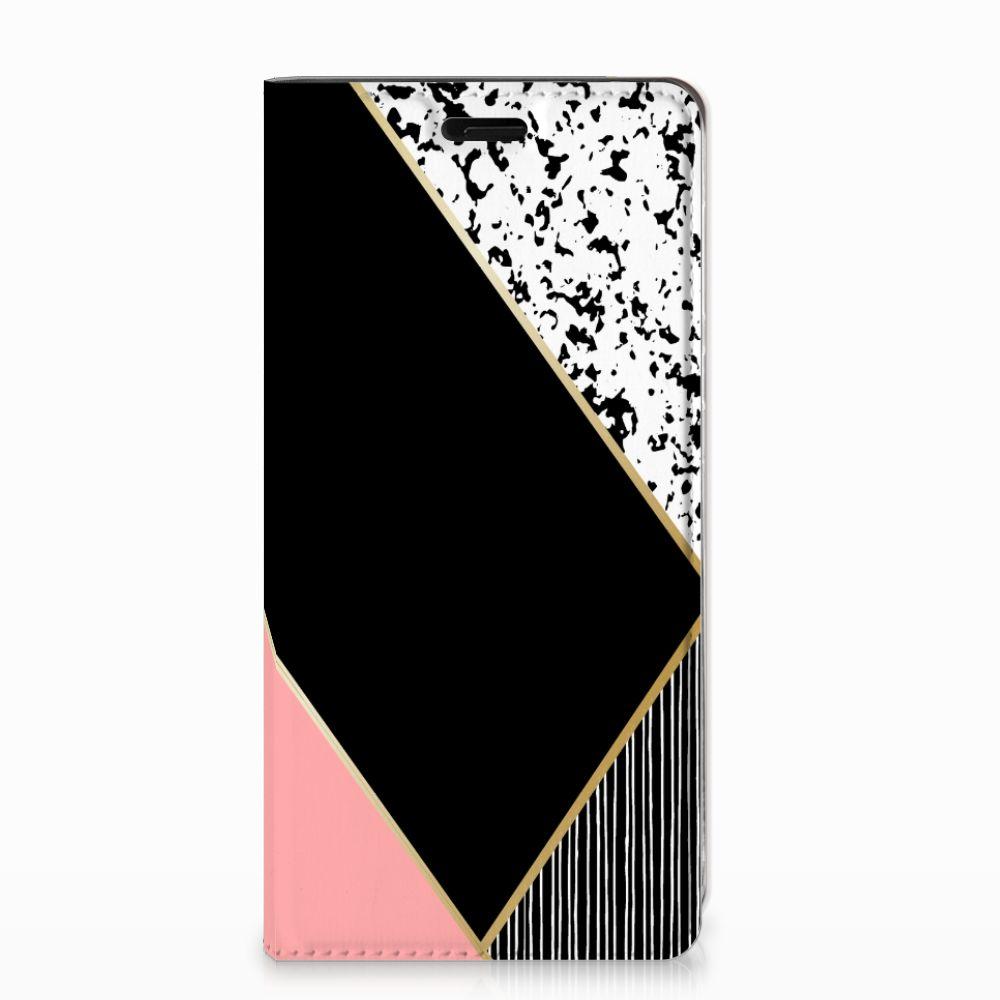 Nokia 8 Stand Case Zwart Roze Vormen