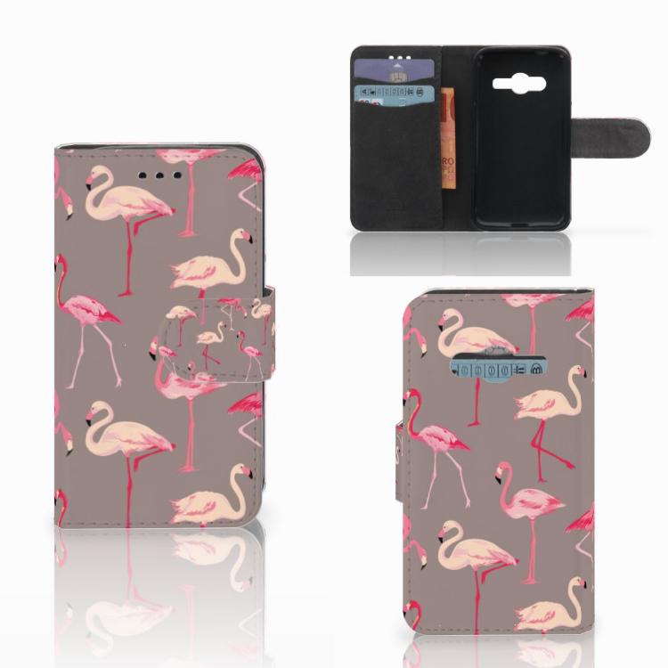 Samsung Galaxy Trend 2 Telefoonhoesje met Pasjes Flamingo