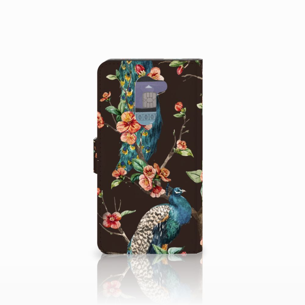 Huawei Honor 6X Telefoonhoesje met Pasjes Pauw met Bloemen