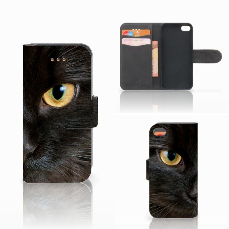 Apple iPhone 5C Telefoonhoesje met Pasjes Zwarte Kat