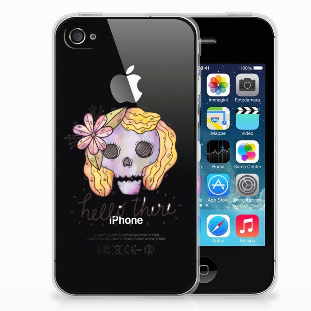 Silicone Back Case Apple iPhone 4 | 4s Boho Skull