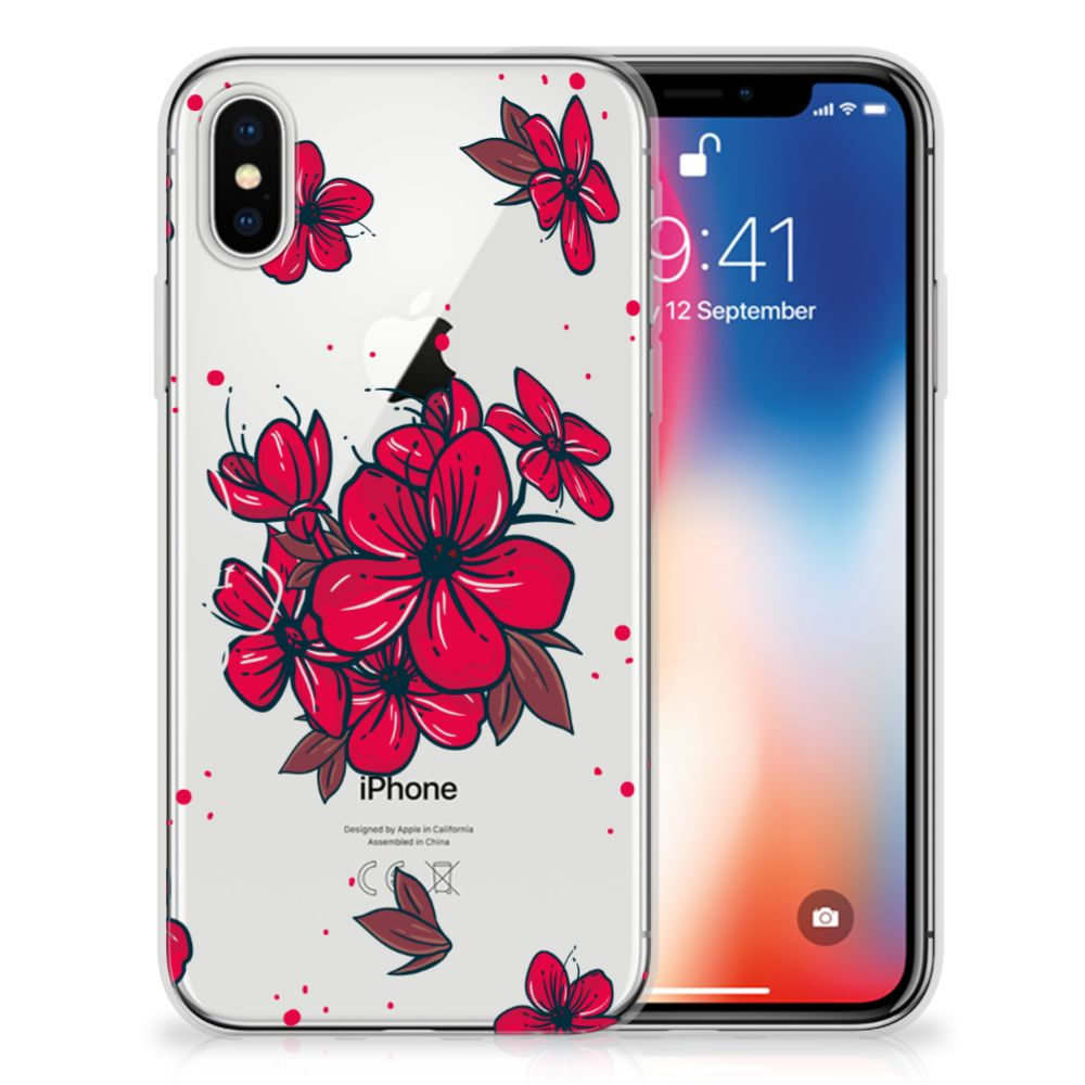 Apple iPhone X | Xs TPU Hoesje Design Blossom Red