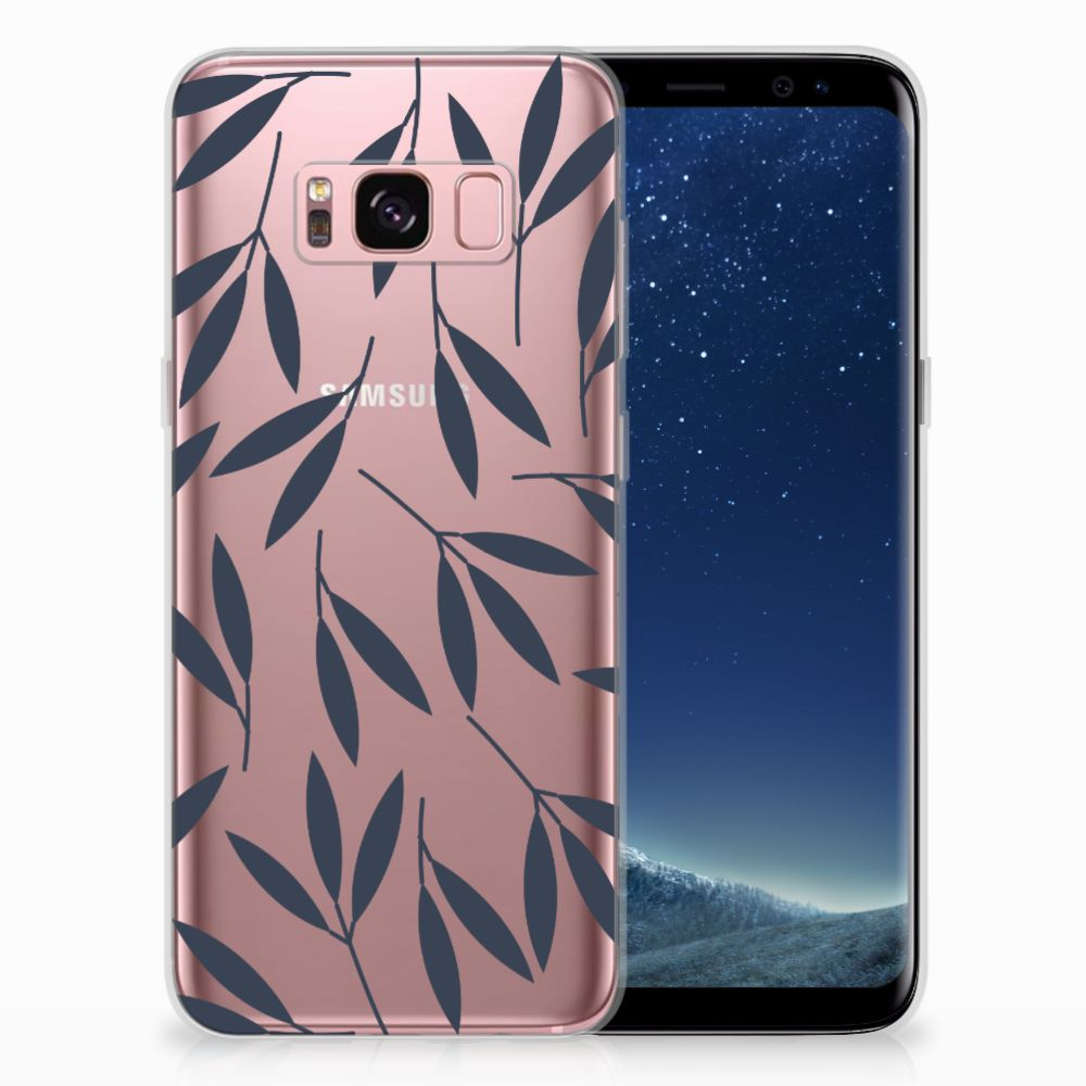 Samsung Galaxy S8 TPU Hoesje Design Leaves Blue