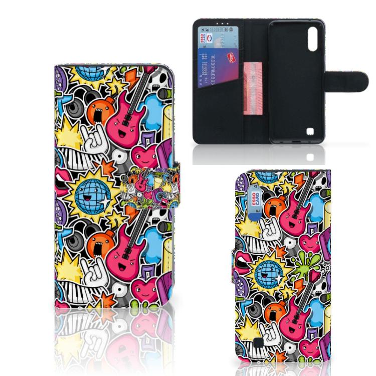 Samsung Galaxy M10 Wallet Case met Pasjes Punk Rock