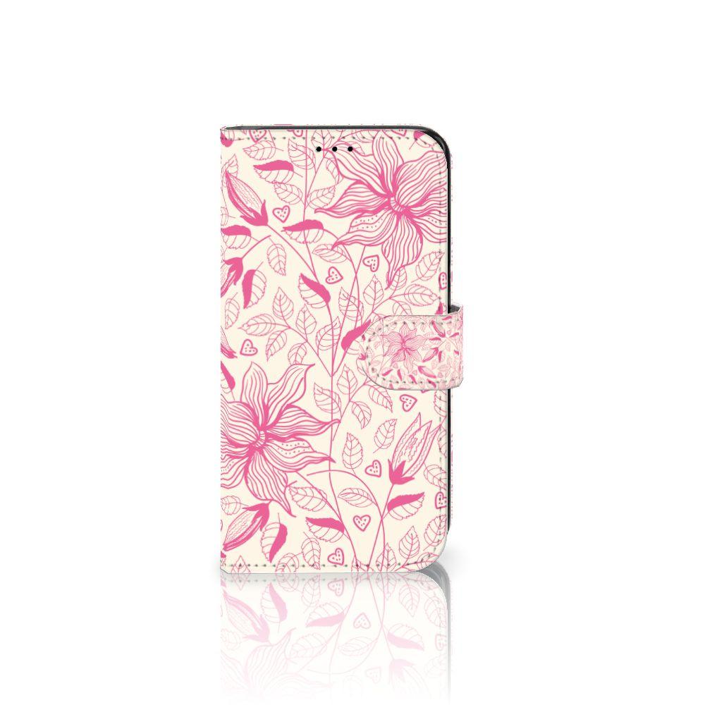 Samsung Galaxy S7 Edge Uniek Boekhoesje Pink Flowers