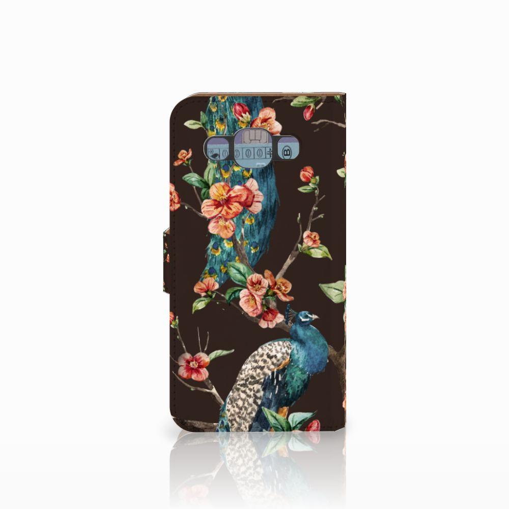 Samsung Galaxy E5 Telefoonhoesje met Pasjes Pauw met Bloemen
