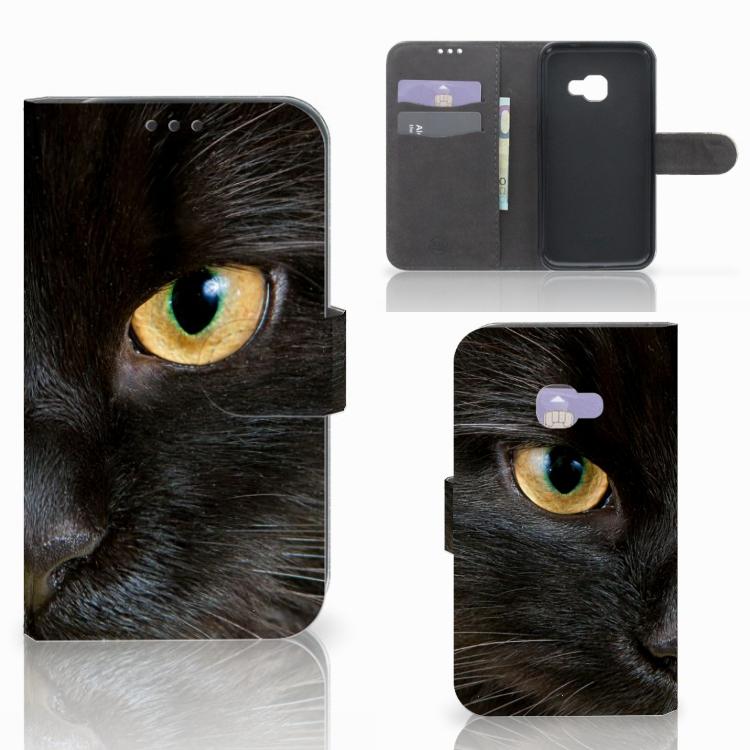 Samsung Galaxy Xcover 4   Xcover 4s Telefoonhoesje met Pasjes Zwarte Kat