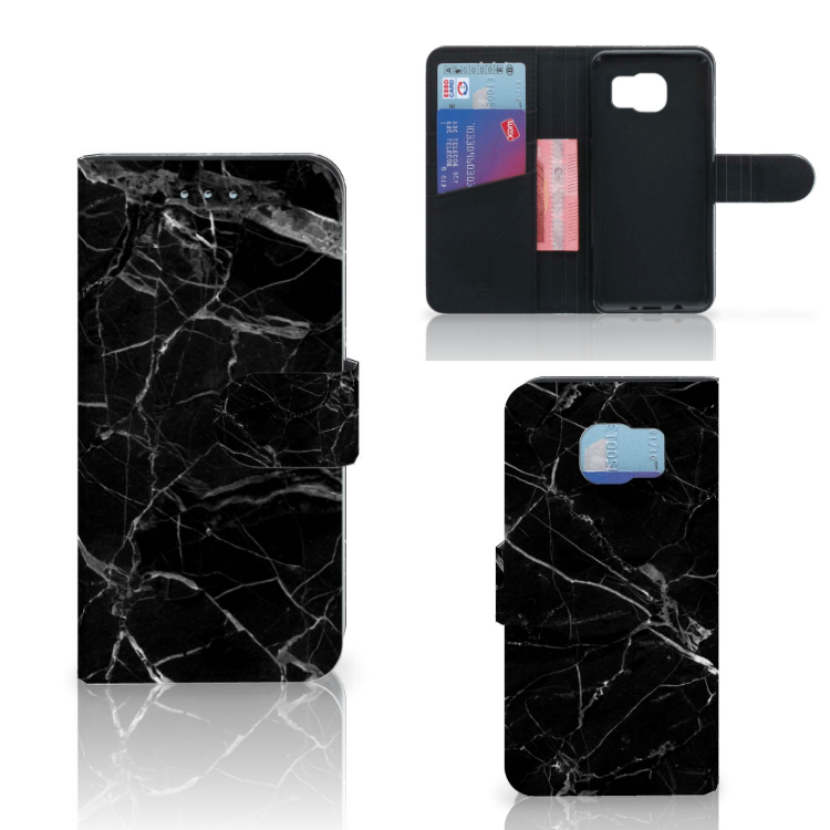 Samsung Galaxy S6 | S6 Duos Bookcase Marmer Zwart - Origineel Cadeau Vader