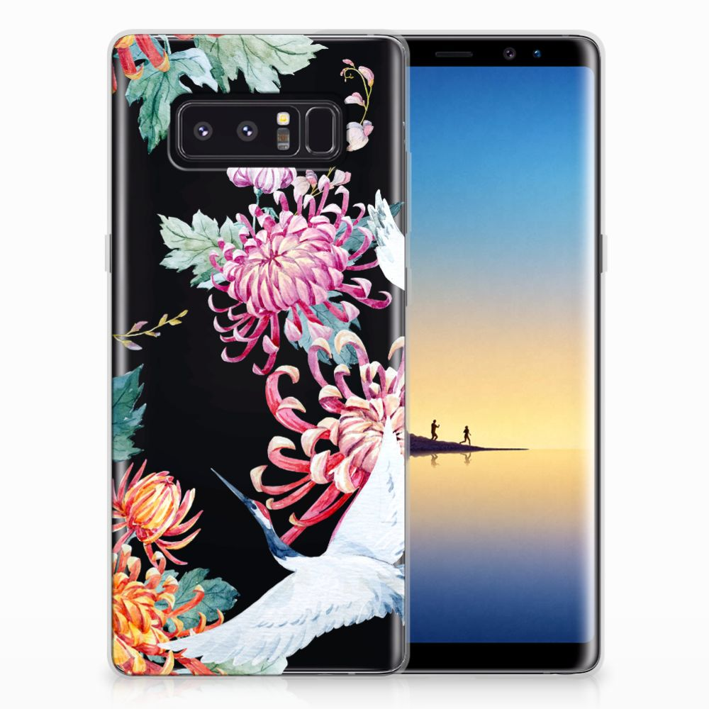 Samsung Galaxy Note 8 TPU Hoesje Bird Flowers